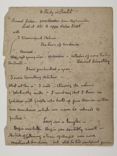 Sir Arthur Conan Doyle's first handwritten notes for a Sherlock Holmes story are to go on display for the first time in Britain along with a manuscript revealing the fictional detective's original name