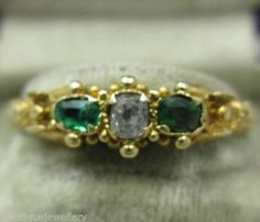 Georgian 18ct exquisite diamond and emerald trilogy ring fine quality