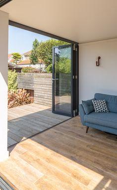 Timber decking | level threshold | inside outside connection | timber floor | bi-fold doors