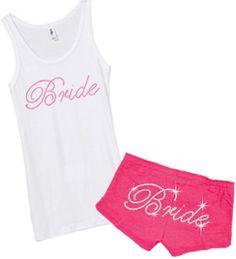 Rhinestone Bride Tank Top and Shorts Set