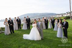 Semi circle wedding party photo