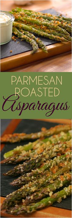 """Crispy Parmesan Roasted Asparagus Recipe - Crispy Parmesan Roasted Asparagus Recipe Food We don't often say """"Once you start, you can't stop"""" about eating asparagus, but our crispy garlic & Parmesan-crusted asparagus is as addictive as potato chips. Side Dish Recipes, New Recipes, Cooking Recipes, Healthy Recipes, Parmesan Crusted Asparagus, Garlic Parmesan, Vegetable Side Dishes, Vegetable Recipes, Fingers Food"""