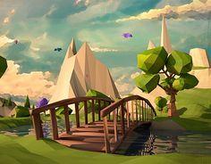 Low Poly-Orange Tree on Behance Environment Concept Art, Environment Design, Blender 3d, Low Poly Games, Polygon Art, 3d Landscape, Low Poly 3d Models, 3d Artwork, 3ds Max