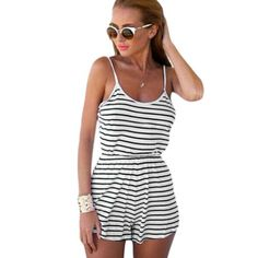 TQNFS Fashion Summer Women Casual Playsuits Sleeveless Sexy O Neck Striped Rompers Short Pants Overalls for Women Playsuit Rompers Women, Jumpsuits For Women, Women Shorts, Backless Playsuit, Playsuit Romper, Simple Street Style, Striped Playsuit, Striped Jumpsuits, Beach Jumpsuits