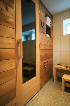 Home Spa | Steam Room | Bathroom | Wood Panel Walls