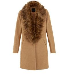 Bring a winter wardrobe to life with this camel faux fur collar coat - wear with dark blue jeans and brogues