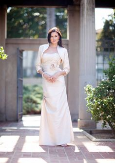 2015 Floor Length Satin Ruched Strapless Jacket Flowers Mother of the Bride Dresses MBD335