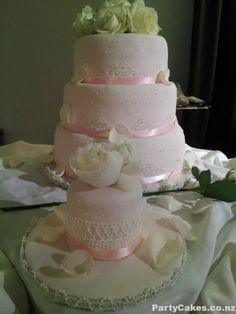 Powder Pink Edible Lace Wedding Cake