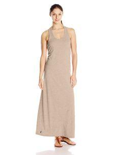 LOLE Women's Sarah Dress, Biscotti Heather, Medium. Scoop neck design. Racer back pattern. Length: 56 in.
