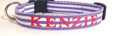 Purple Stripes Dog Collar  5/8 inch wide  by TheMonogrammedMutt, $28.00