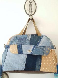 Sac à langer Boogie récup jeans et patchwork cousu par Alexandra - Patron sac à langer Sacôtin