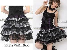 PUNK DOLLY gothic Lolita 61213 RUFFLE Plaid SKIRT White