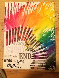 Melted crayon canvas art.  DIY crayon canvas art