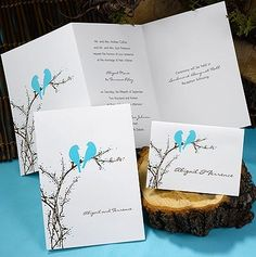 Z Fold Aqua Whimsical Love Birds Recycled Wedding Invitations and RSVP Set | eBay