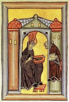 Hildegard and Volmar, detail of a facsimile of a lost folio in the Liber Scivias by Hildegard of Vingen, Germany, c. 1150-1175