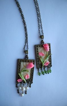 Inspiration necklace; learn to make flowers in polymer.