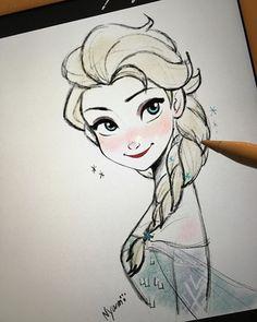 2015/12/18 I finally got Apple pencil! #frozen #elsa #disney #sketch #doodle #drawing #fanart #procreate