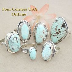 Nevada Dry Creek Turquoise Rings Four Corners USA OnLine Native American Indian Silver Jewelry http://stores.fourcornersusaonline.com/dry-creek-turquoise-rings/
