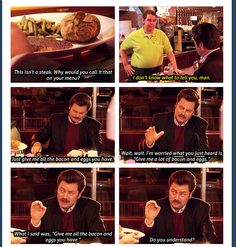 """Parks and Recreation Season Three Episode 6: Indianapolis. """"Give me all the bacon and eggs you have."""""""