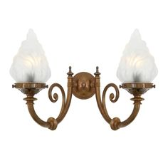 The Darwin two-arm wall light features two decorative curved arms and flame glass lamp shades.