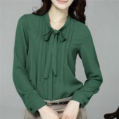 Blusas Femininas S-4XL Plus Size Women Solid Chiffon Blouse Long Sleeve Casual Blouse Shirts Women Work Wear Tops Kimono #B100