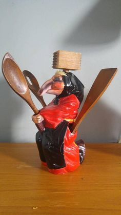 Baba Yaga utensil holder , Russian Folklore , Finnish folktales , kitchen witch , red and black , original wooden utensils