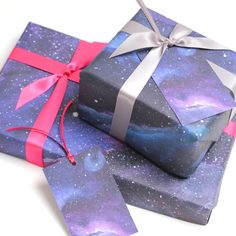 Beautiful galaxy print wrapping paper to gift wrap your Christmas or Birthday gifts with a dash of futuristic flare! Brilliant for space fans or