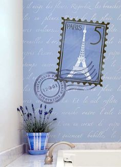 Our Springtime in Paris Wall Stencils Set is a conversation starting allover pattern. This wall quote stencil for walls is in a script style font that can look either vintage or modern. This set inclu