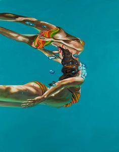 Eric Zener Contemporary Painting: Rejoining Again Ii 2014 Eric Zener, Underwater Painting, Underwater Images, Art En Ligne, A Level Art, Photorealism, Art Graphique, Portraits, Figure Painting