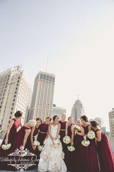 Royal Oak Wedding Photographers-Weddings by Adrienne & Amber #royaloak #weddings #photography #weddingsbyaa #detroit #bridesmaids #red #dresses #pose#flowers #royaloak #bride #groom #downtown #buildings #gorgeous