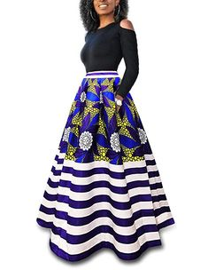 JRRY Casual Two Pieces Women Maxi Dresses Short Sleeve Black Top Colorful Long Print Dress Vestidos African Dresses Online, African Fashion Dresses, African Outfits, African Clothes, Long Dress Fashion, Skirt Fashion, Afro, Printed Maxi Skirts, Floral Print Skirt