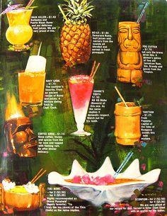 Hawaiian cocktail menu 1950's, 1960's