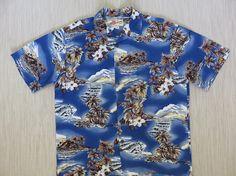 Hawaiian Shirt Men HILO HATTIE Ukulele Music Hibiscus