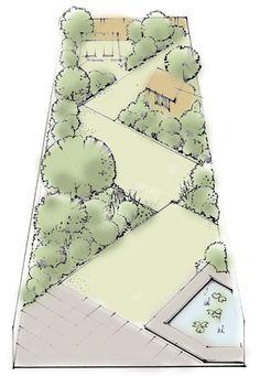 Le jardin long et troit jardin pinterest plus d for Jardin etroit long