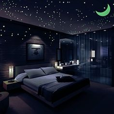 Airbin Glow in The Dark Stars Decals Stickers Pack of Moon, 36 Meteor Tail and 1 Constellation Guide,Luminous Stars, Brightest Glowing Stars Decal, Wall Stickers for Kids and Bedroom Modern Bedroom Decor, Interior Design Living Room, Bedroom Ideas, Design Bedroom, Bedroom Themes, Dream Rooms, Dream Bedroom, Luxurious Bedrooms, House Rooms