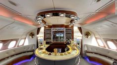 Business Class bar on an Emirates Airbus A380, Emirates Airbus, Emirates Airline, A380 Aircraft, Google Street View, Emirates First Class, Hainan Airlines, First Class Flights, Sailboat Interior