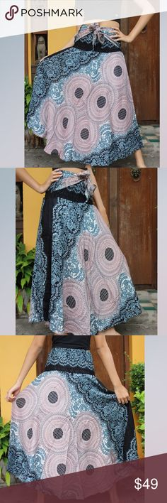 """BOHEMIAN GYPSY STYLE BLOOMING FLOWER SKIRT, OS Fits US sizes 0-12, handmade, primary color is gray, made of rayon with soft blues, waist 22""""-32"""", Hips 26""""- 42"""", length 40"""". Very soft and comfortable, quick dry and awesome for hot weather. HANDMADE Skirts Midi"""
