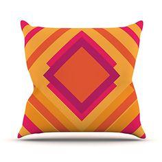 KESS InHouse BG1019AOP03 18 x 18-Inch 'Belinda Gillies Diamond Dayze Orange Pink' Outdoor Throw Cushion - Multi-Colour