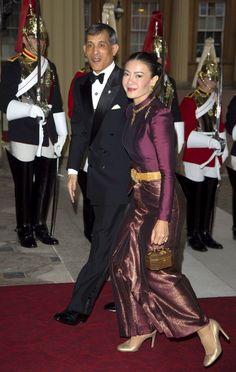 Crown Prince Maha Vajiralongkorn and Princess Srirasmi of Thailand at a dinner in Honour of Queen Elizabeth II's Diamond Jubilee, Buckingham Palace, May 2012.