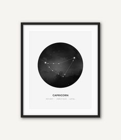 Astrology Capricorn Constellation Digital Print, Zodiac Sign Wall Art, Printable Black and White Modern Home Decor, Minimalist Poster