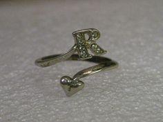 Vintage Sterling Silver Avon Letter R Heart Wrap Ring, rhinestone accents, adj. #Avon #initialring