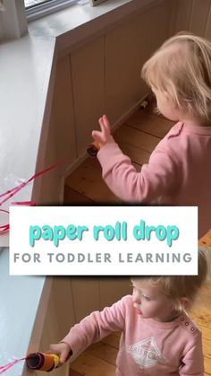 This awesomely easy toddler activity is perfect for independent play and exploration. Two year olds love playing with these cardboard tubes and letting them zip and slide. When you need a minute, this toddler activity will save the day!