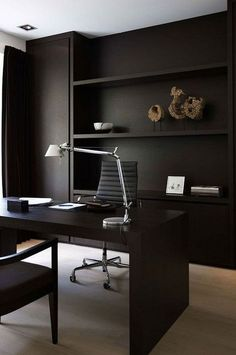 DIY Home Office Design Ideas. Hence, the requirement for home offices.Whether you are intending on adding a home office or remodeling an old space into one, right here are some brilliant home office design ideas to assist you get started. Modern Office Decor, Home Office Setup, Home Office Space, Office Interior Design, Home Office Furniture, Office Interiors, Office Ideas, Office Designs, Men Office