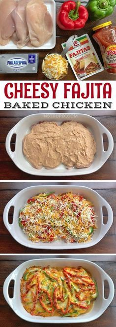 Low Carb Cheesy Fajita Baked Chicken Recipe -- A quick and easy dinner recipe for the family! It's cheap, simple, healthy and family friendly. Made with cream cheese, salsa and fajita seasoning. Casserole Recipes, Crockpot Recipes, Cooking Recipes, Baked Dinner Recipes, Kraft Dinner Recipes, Simple Dinner Recipes, Old Recipes, I Love Food, Good Food