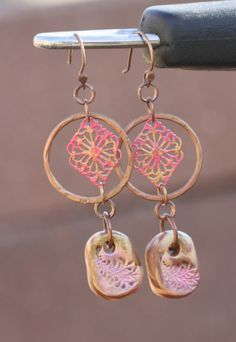 Lovely rose-coral colored earrings by Tanya Goodwin using my altered metal pieces and polymer clay beads!  3/31/14 http://pixiloo.blogspot.com/2014/03/more-earrings-using-sharyls-components.html