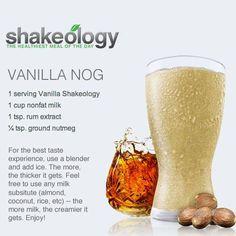Vanilla Shakeology: Vanilla Nog Recipe