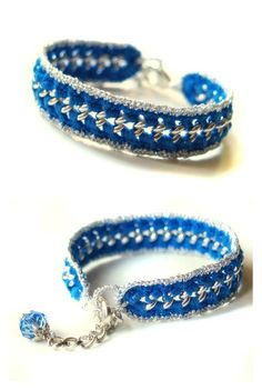 Intense blue and silver crocheted chain by HoperalabJewels on Etsy