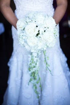 All white bridal bouquet - lush white wedding bouquet of garden roses + greenery {Erika Brown Photography}