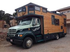 Have you ever thought of building your tiny house right onto the frame of a diesel truck like this one?