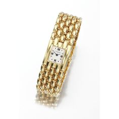 LADY'S YELLOW GOLD WRISTWATCH, CHAUMET The square dial applied with batons and Roman numerals, the bracelet designed as a mesh of bombé brick links, mounted in yellow gold, case and dial signed Chaumet, case numbered, deployante buckle signed Chaumet Paris.